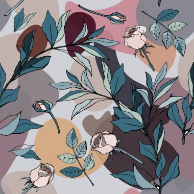 Roses with leaves seamless vector pattern. Garden flowers illustration. Gentle pastel colors. EPS10