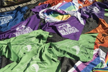 Capital Federal, Buenos Aires / Argentina; Feb 19, 2020: rally in favor of legal, safe and free abortion, sale of handkerchiefs in support of different causes, legal abortion, not one less