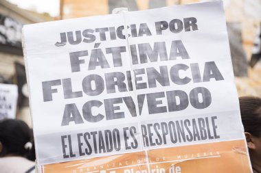 CABA, Buenos Aires / Argentina; March 9, 2020: international women's day. Poster asking for justice for Fatima Florencia Acevedo, killed by her ex-partner. The state is responsible.