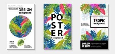 Trendy tropic pattern covers set. Vector illustration