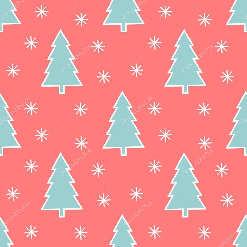 Christmas Trees Wallpaper Pattern Flat Design Illustration Vector By Studiobarcelona