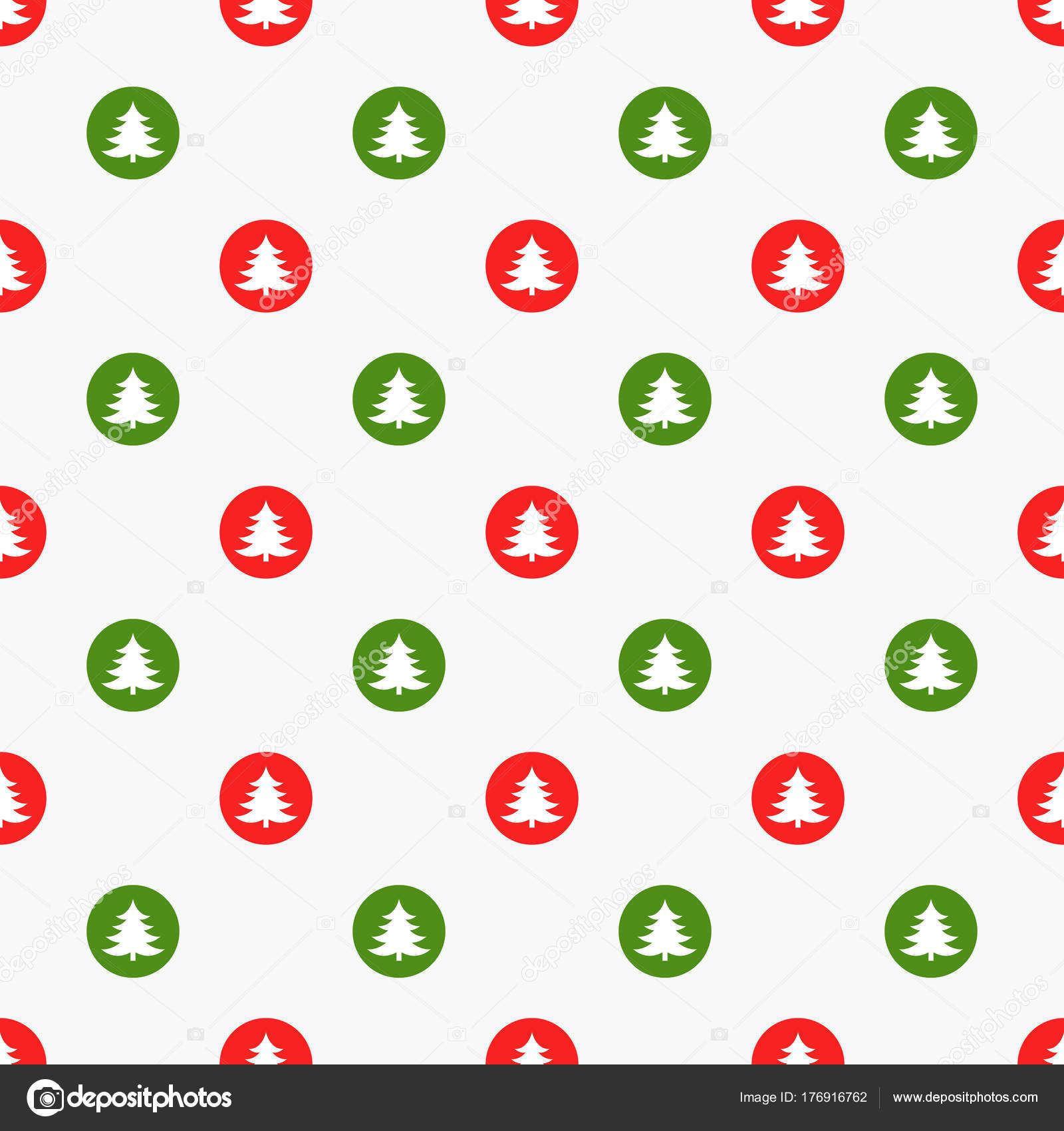 Puntos verdes y rojos con el patrón de árboles de Navidad — Archivo ...