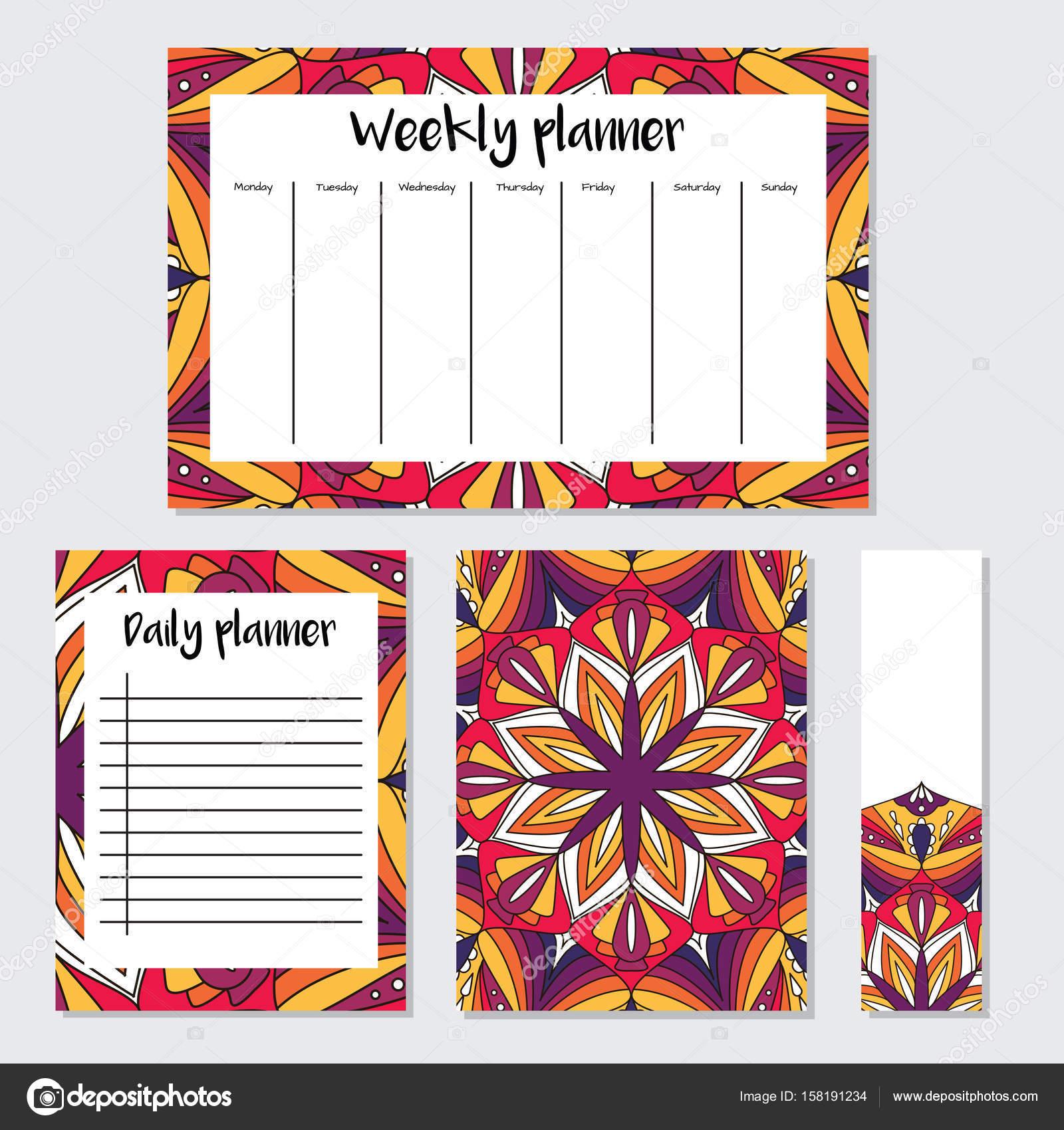 Wöchentliche und tägliche Planer mit Mandala-Muster — Stockvektor ...