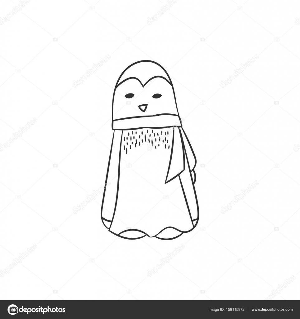 Pinguin In Der Hand Gezeichnet Stil Stockvektor