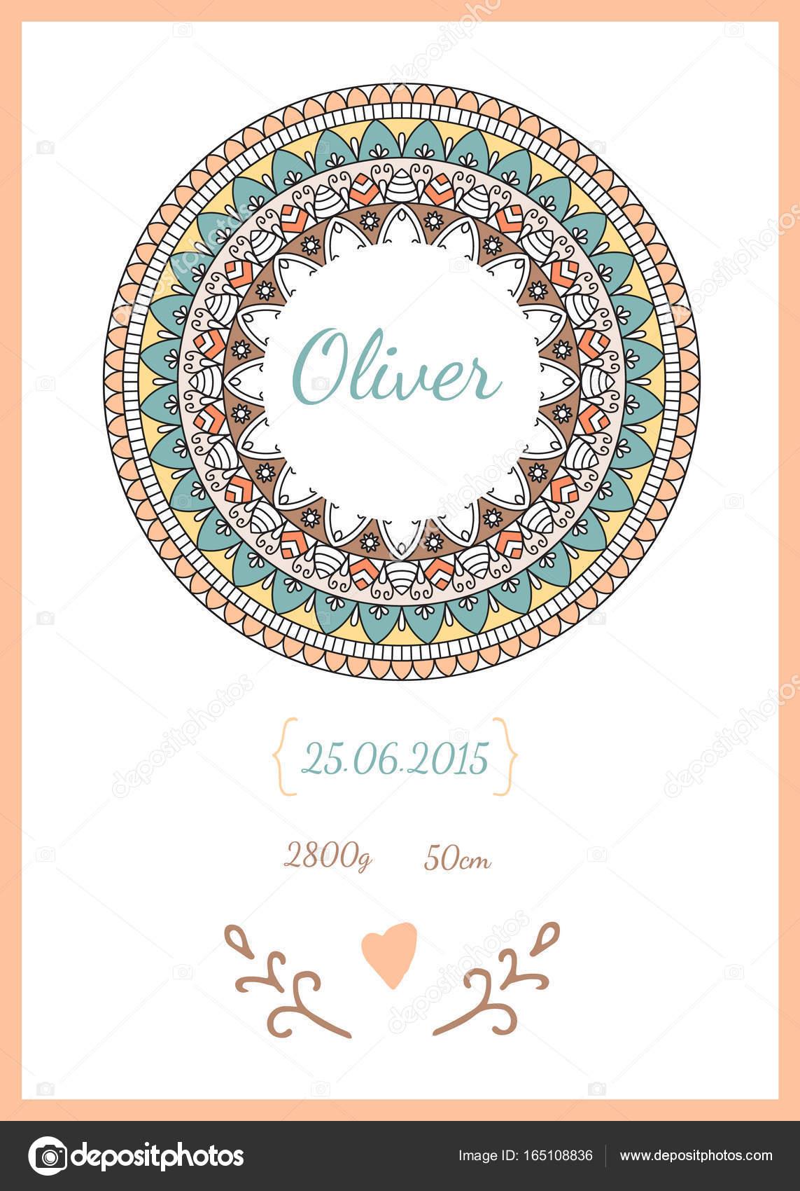 Baby Happy Birthday Card With Data Stock Vector 0112angel 165108836