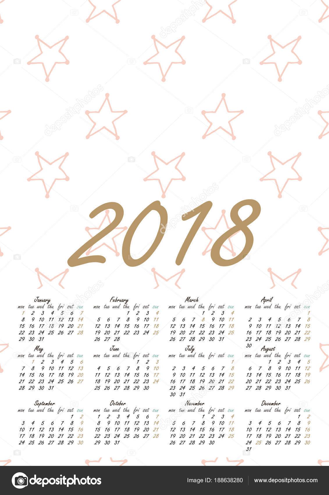 Calendrier 2018 En Style Scandinave Image Vectorielle