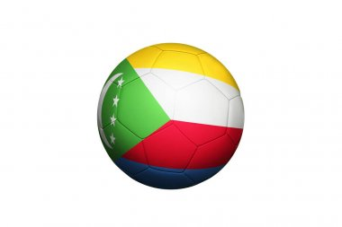 Comoros flag on ball at corner kick position, soccer field background. National football theme on green grass.