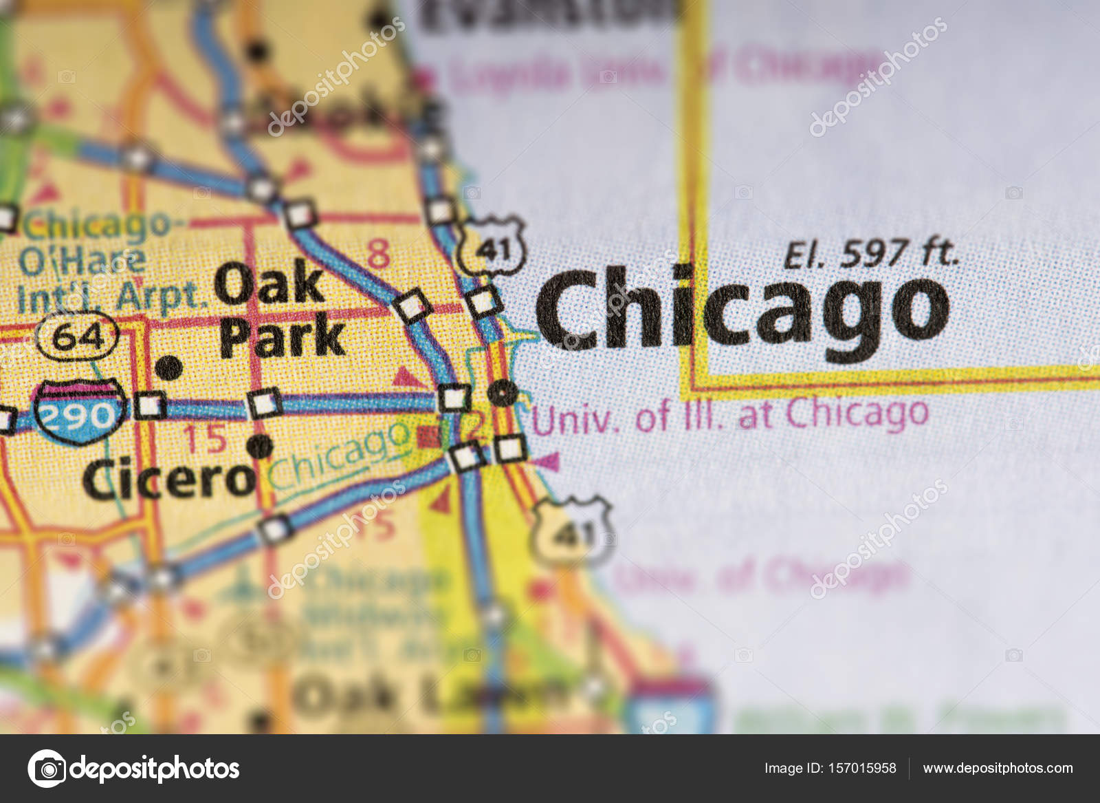 Chicago Illinois On Map Stock Photo C Icemanj 157015958