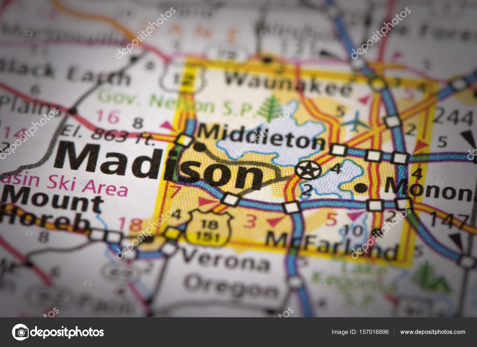 Madison, Wisconsin on map — Stock Photo © icemanj #157016896