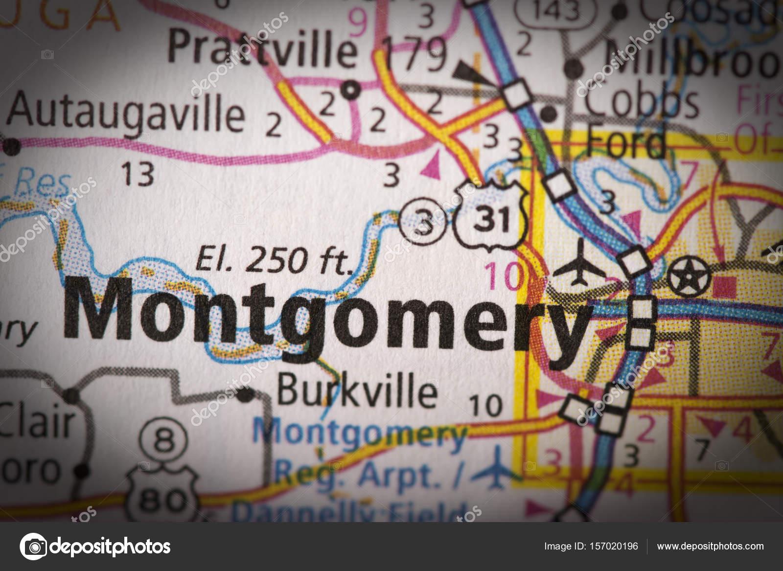Montgomery, Alabama on map — Stock Photo © icemanj #157020196
