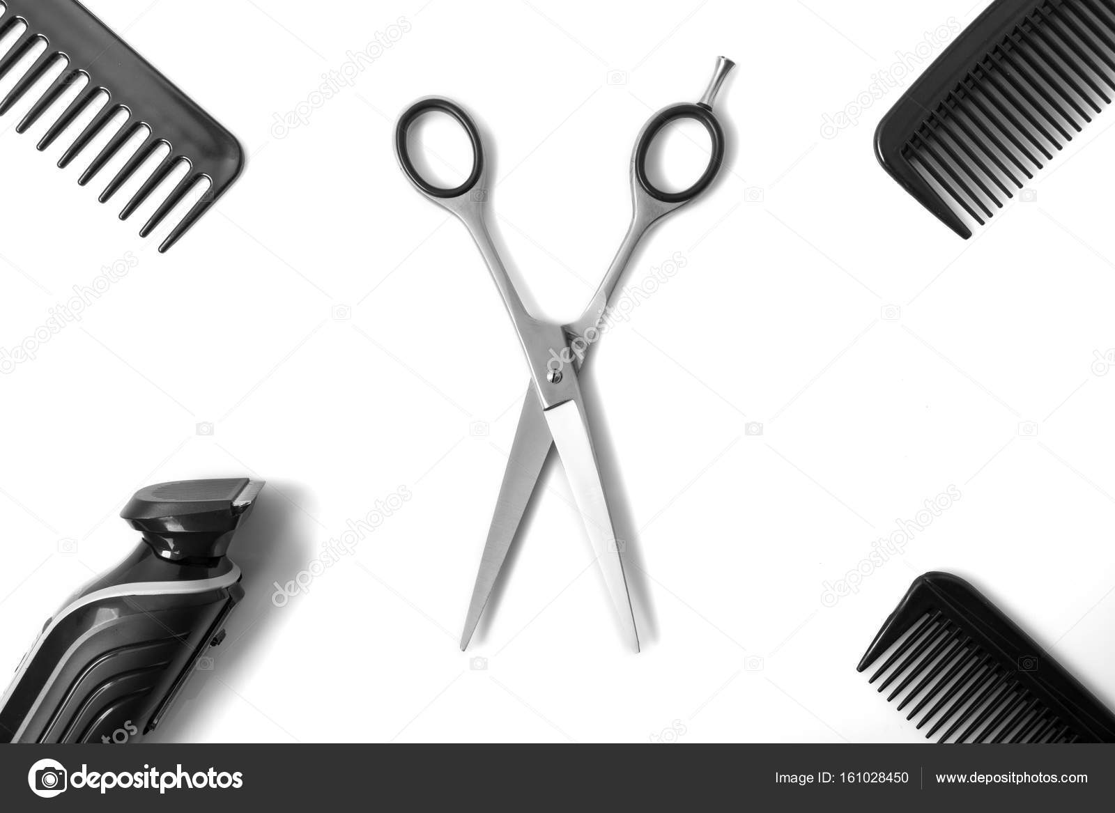 Haircut items, scissors in middle \u2014 Stock Photo © icemanj