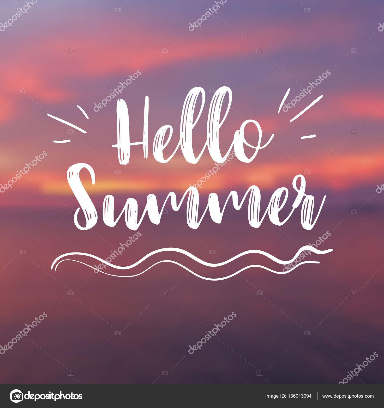 Hello Summer Card With Sunset Background. Vector Illustration U2014 Stock Vector