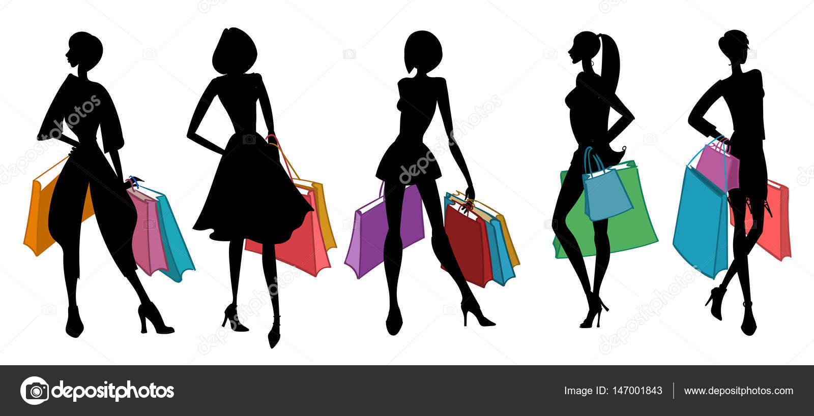 858ca818f Silhouettes of women with shopping bags. Vector illustration. — Stock Vector