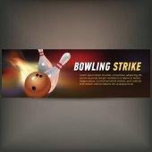 Bowling horizontální banner s bowling šampión klubu ligy symboly a realistické, samostatný