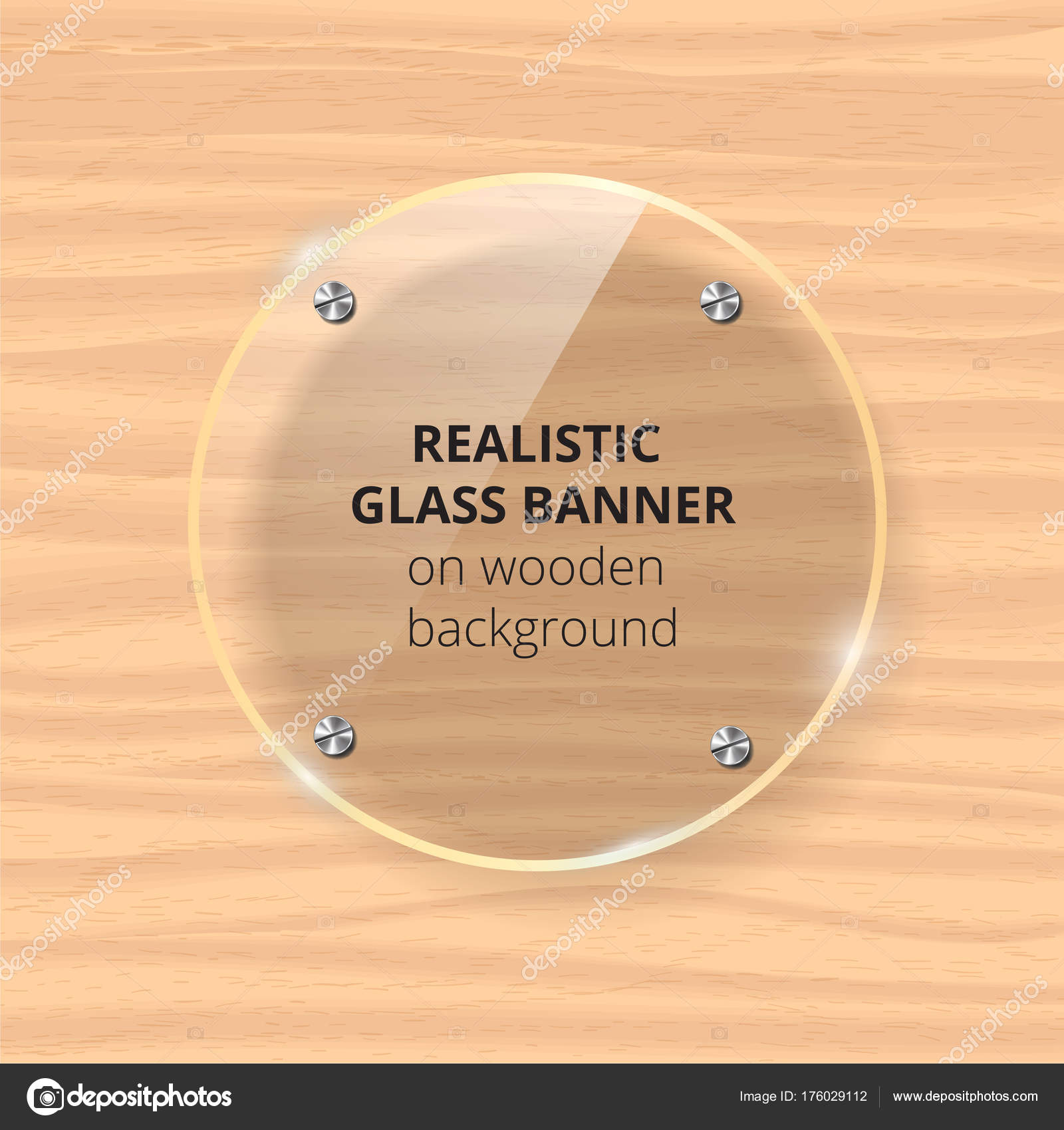 Transparent glass plate mock up. Yellow wooden background ...