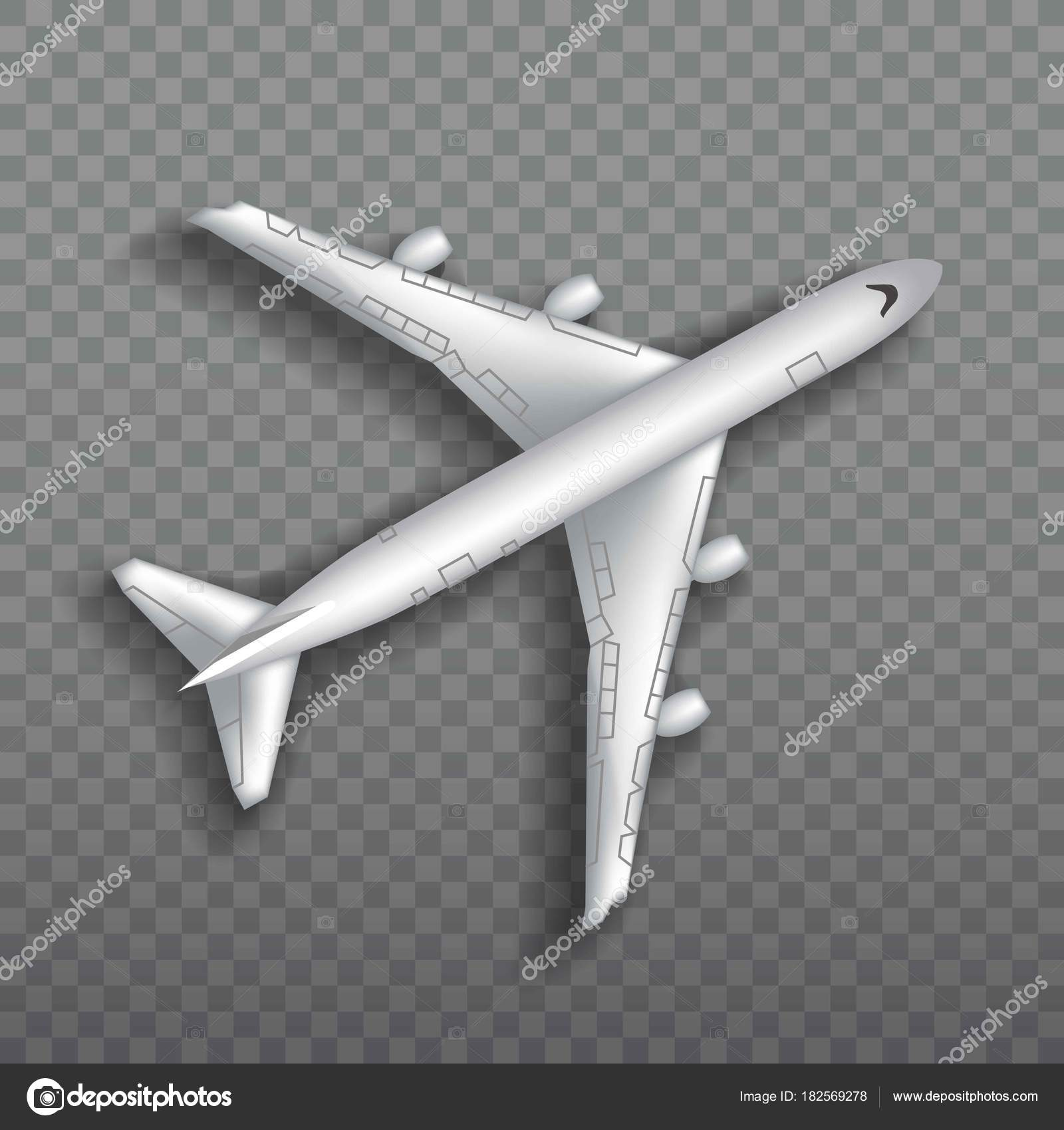 Flying Airplane Jet Aircraft Airliner Top View Of Detailed Realistic Passenger Air Plane Isolated On Transparent Background Vector Illustration