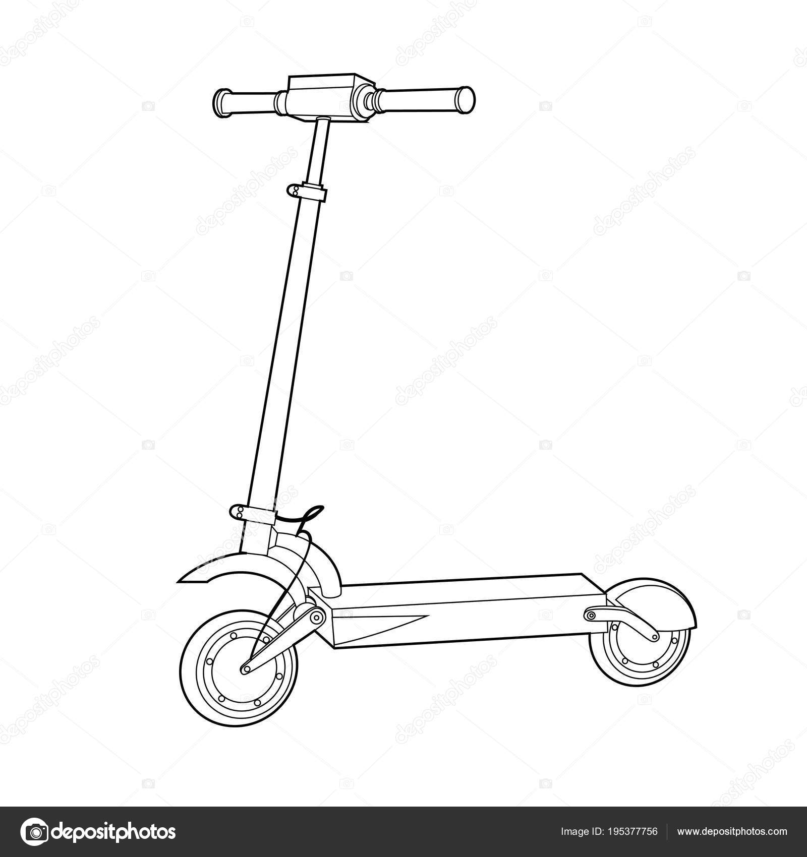 Electric Scooter Line Icon Wheel Scooter Vector Image By C Mariaaverburg Vector Stock 195377756