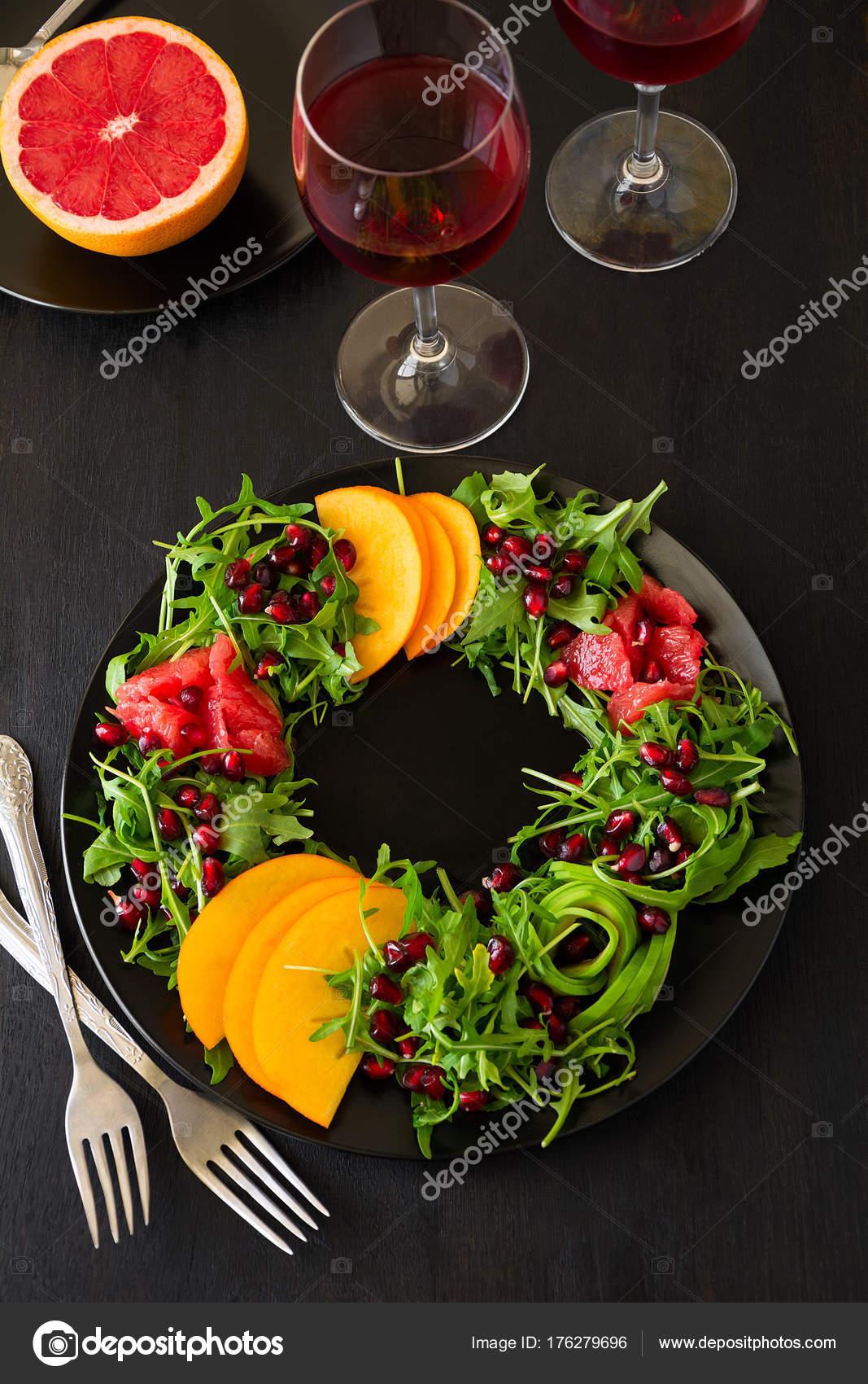 Christmas Wreath Salad Arugula Orange Avocado Grapefruit Pomegranate