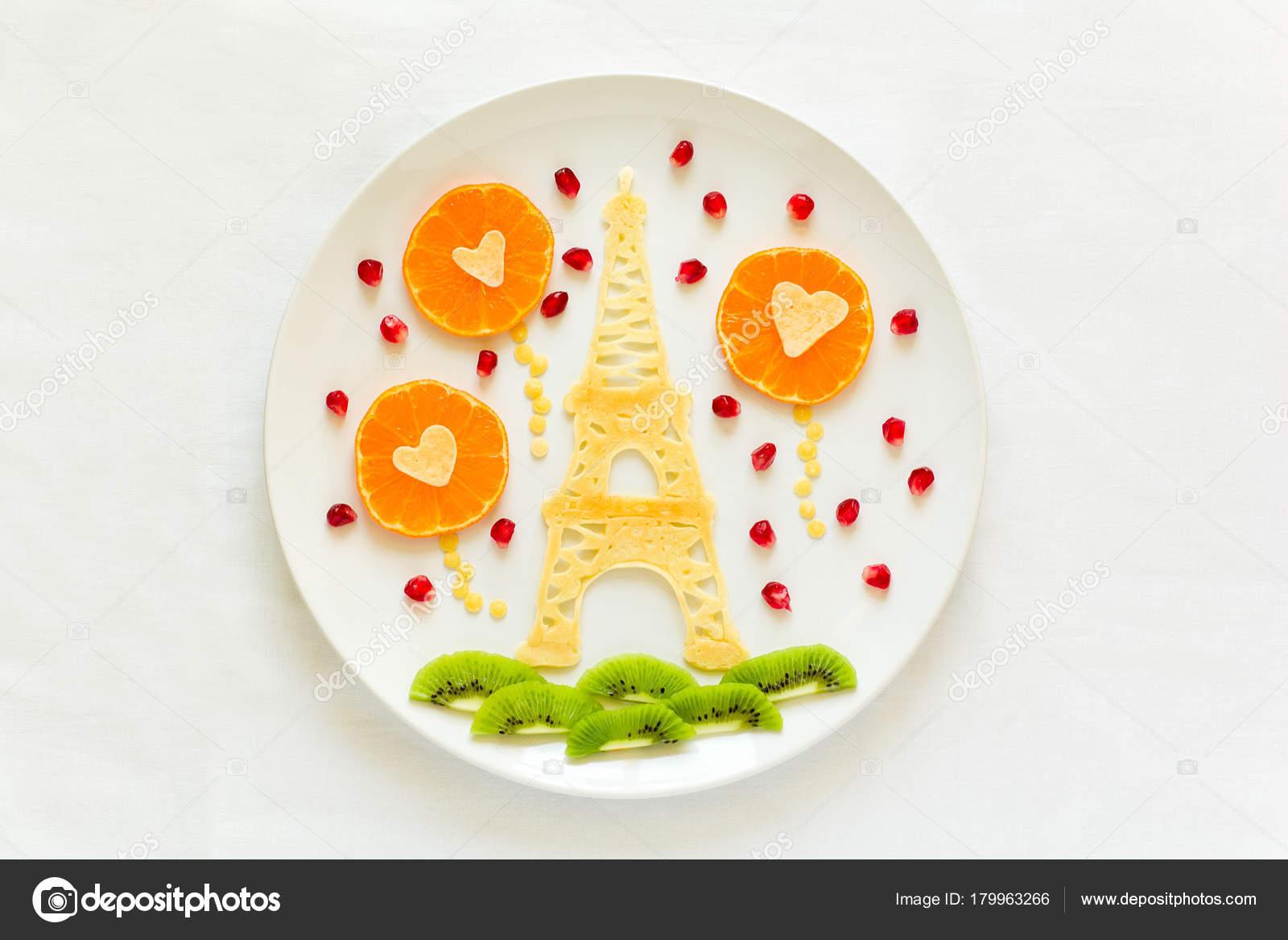 Concepto Arte Comida Torre Eiffel Con Silueta Una Pareja Amor — Foto ...