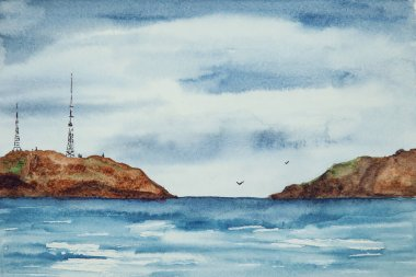 Watercolor drawing of dark blue water and some rocks. Illustration of sea or ocean. Landscape with the water and rocks.