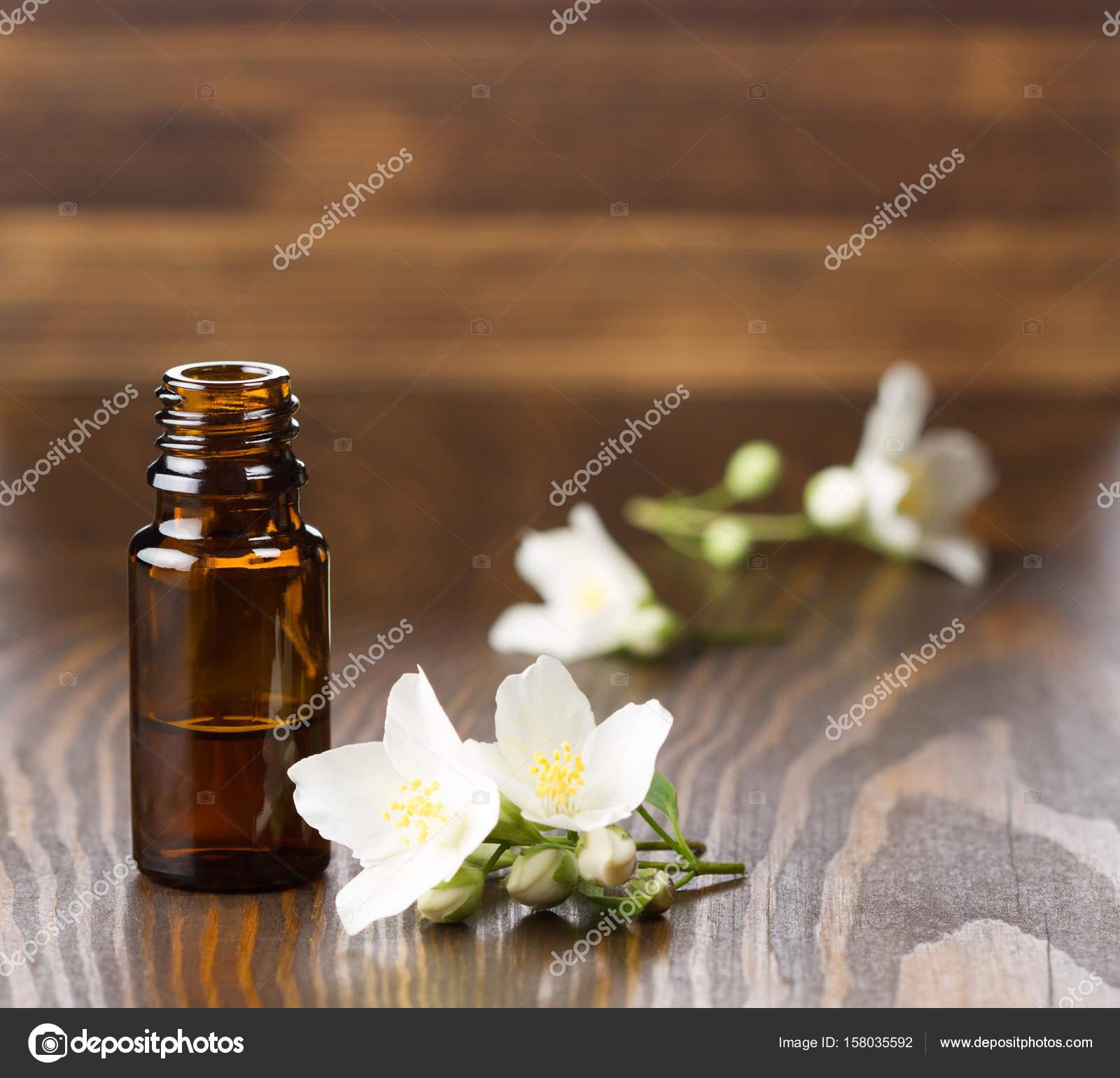 Jasmine Essential Oil And Jasmine Flowers Stock Photo Colors06