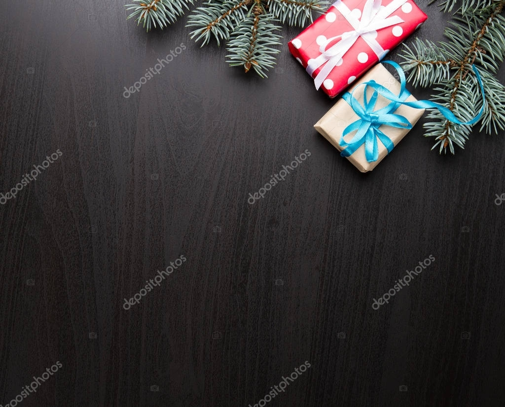 Christmas background with decorations and gifts boxes
