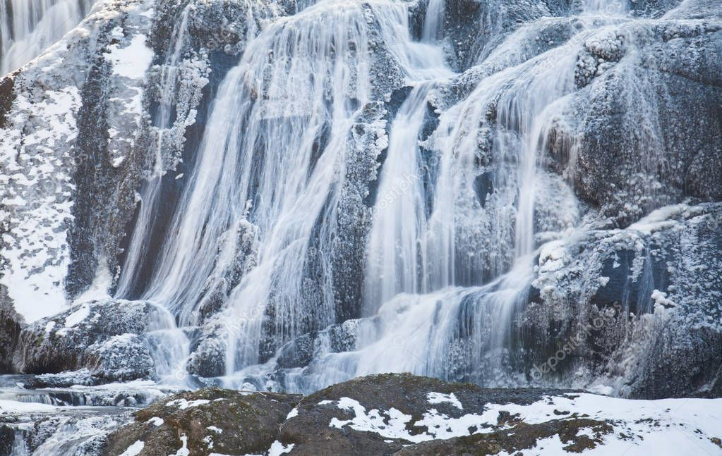 Ice waterfall in winter season