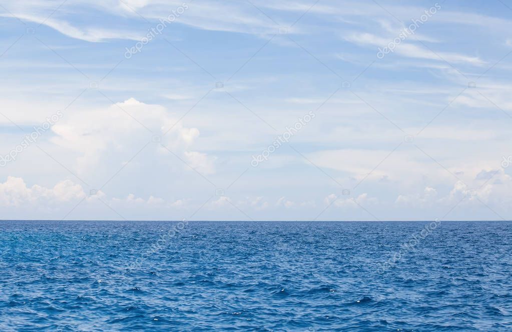 Blue sea water and sky