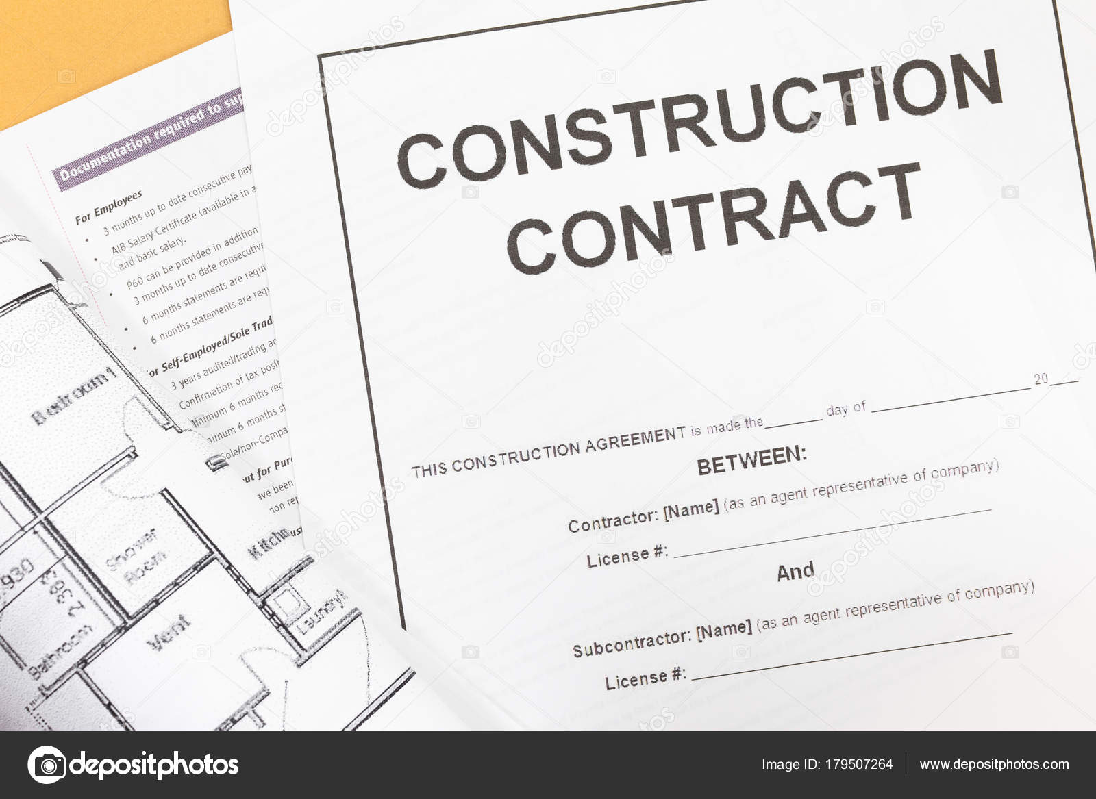 Close   Up Blank Construction Contract Paper U2014 Photo By Torsakarin  Blank Construction Contract