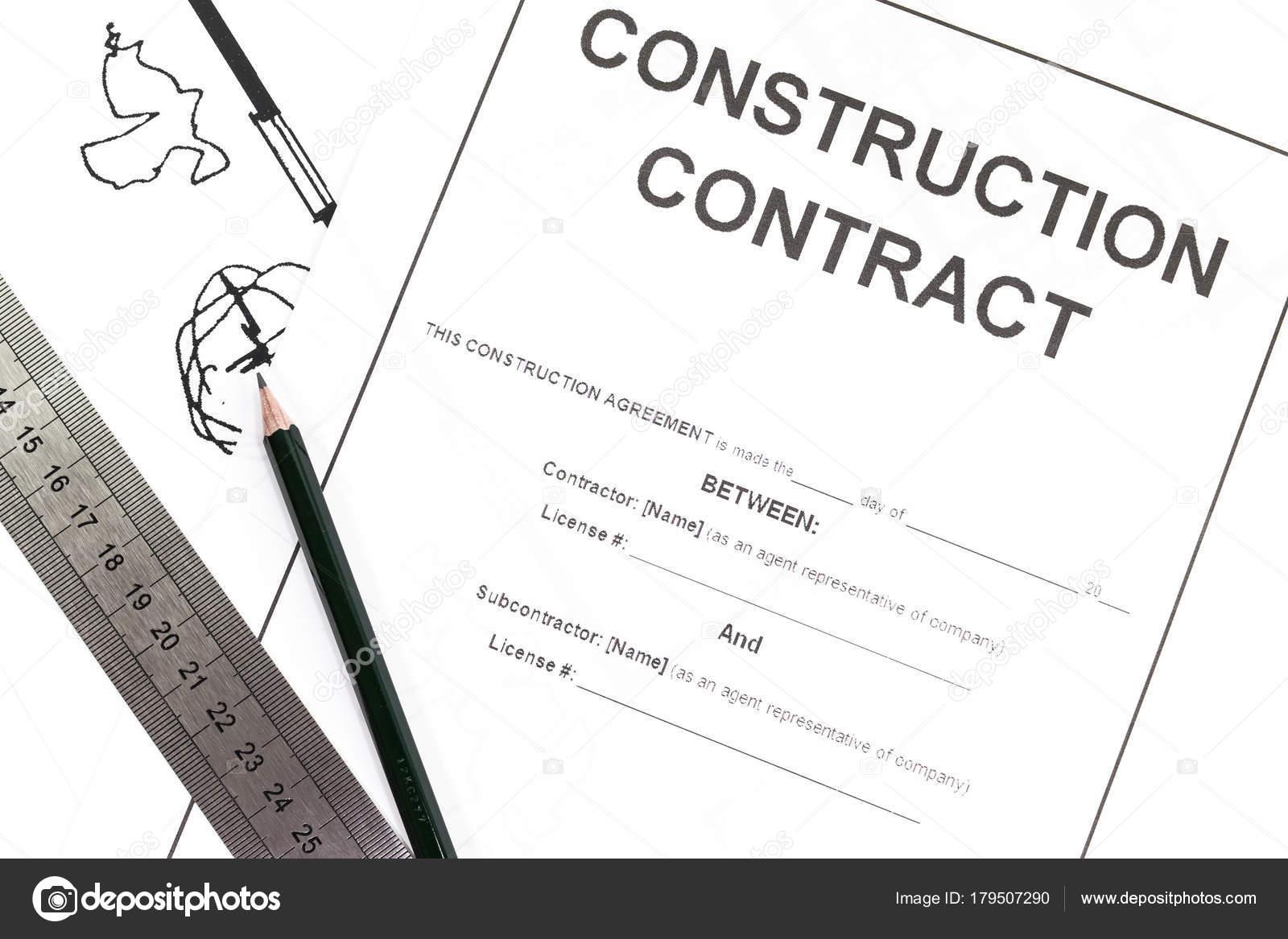 Hautnah Blankkonstruktion Vertrag Papier — Stockfoto © Torsakarin ...