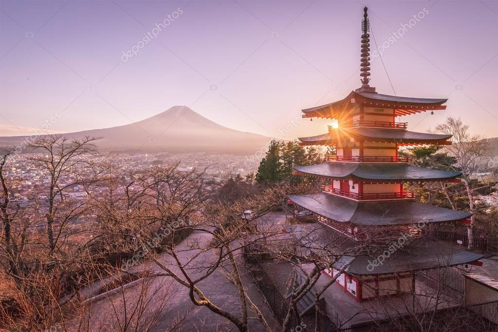 Chureito Pagoda and Mount Fuji in sunset
