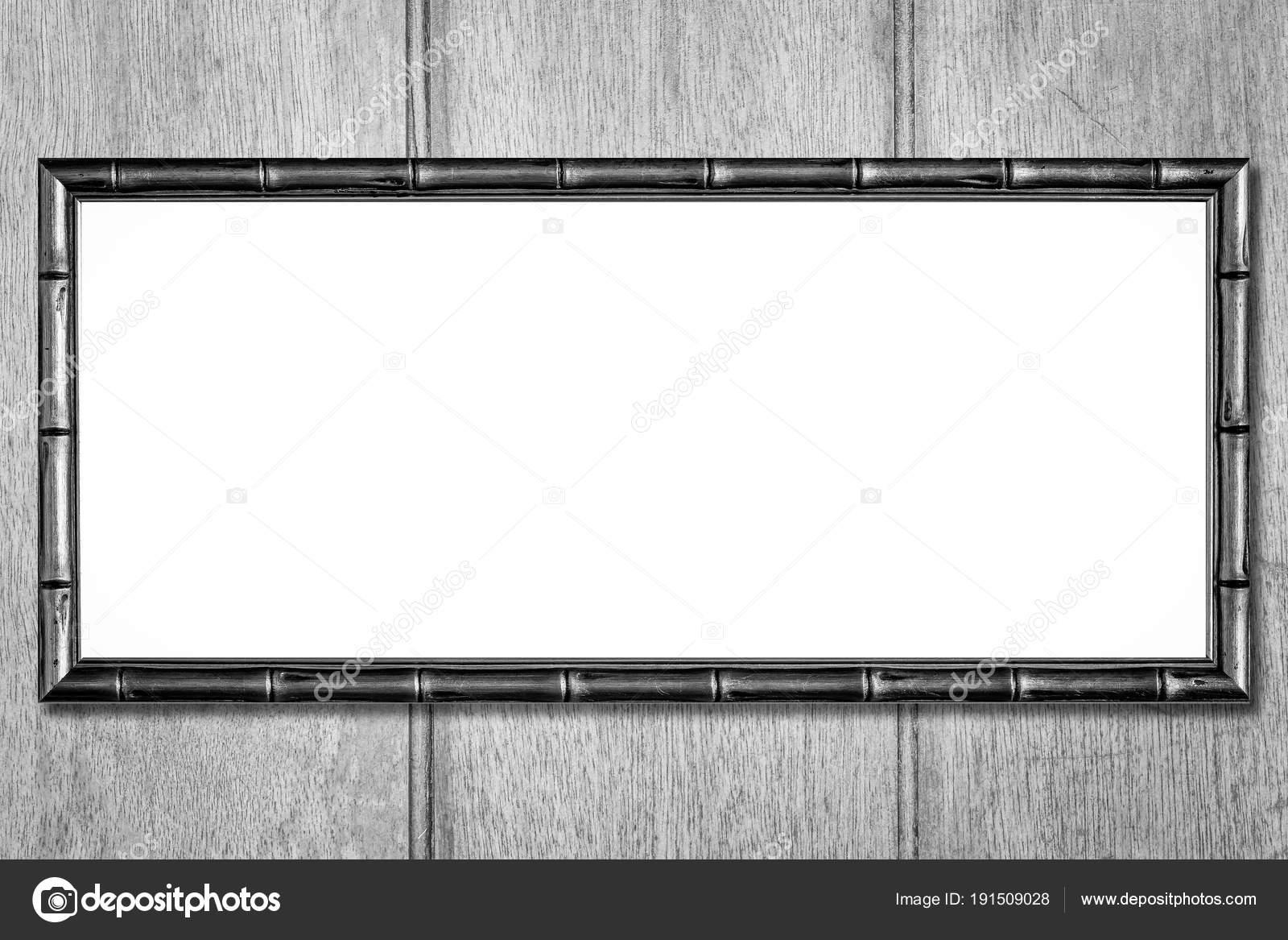 Leere Bambus Bilderrahmen Auf Grauem Hintergrund — Stockfoto ...