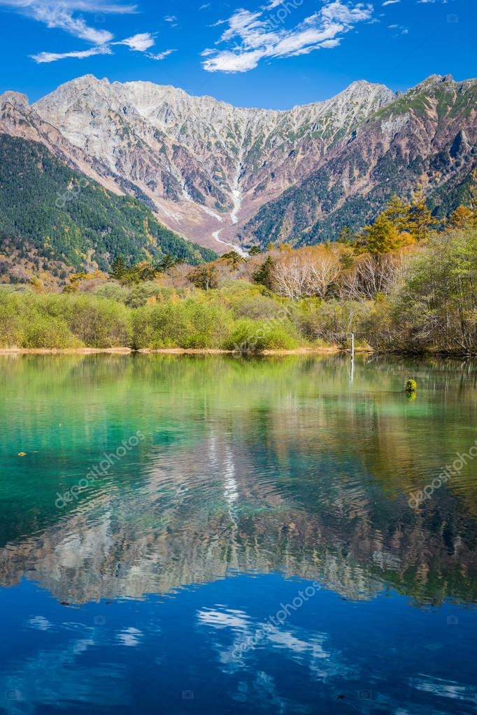 landscape with lake and mountains, Nagano Prefecture