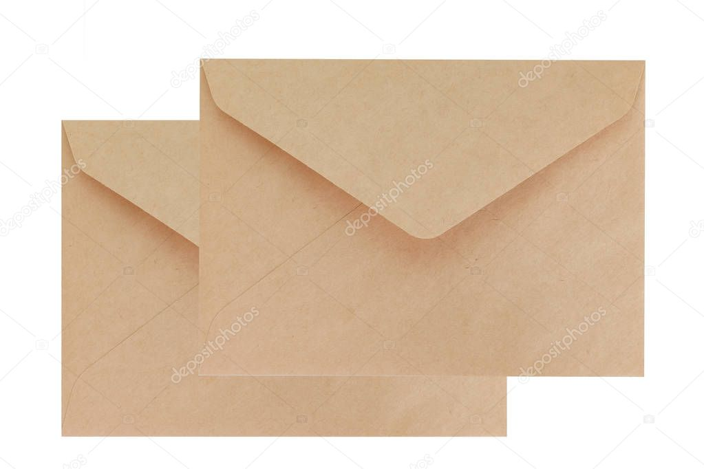 Two brown envelope isolated on white background
