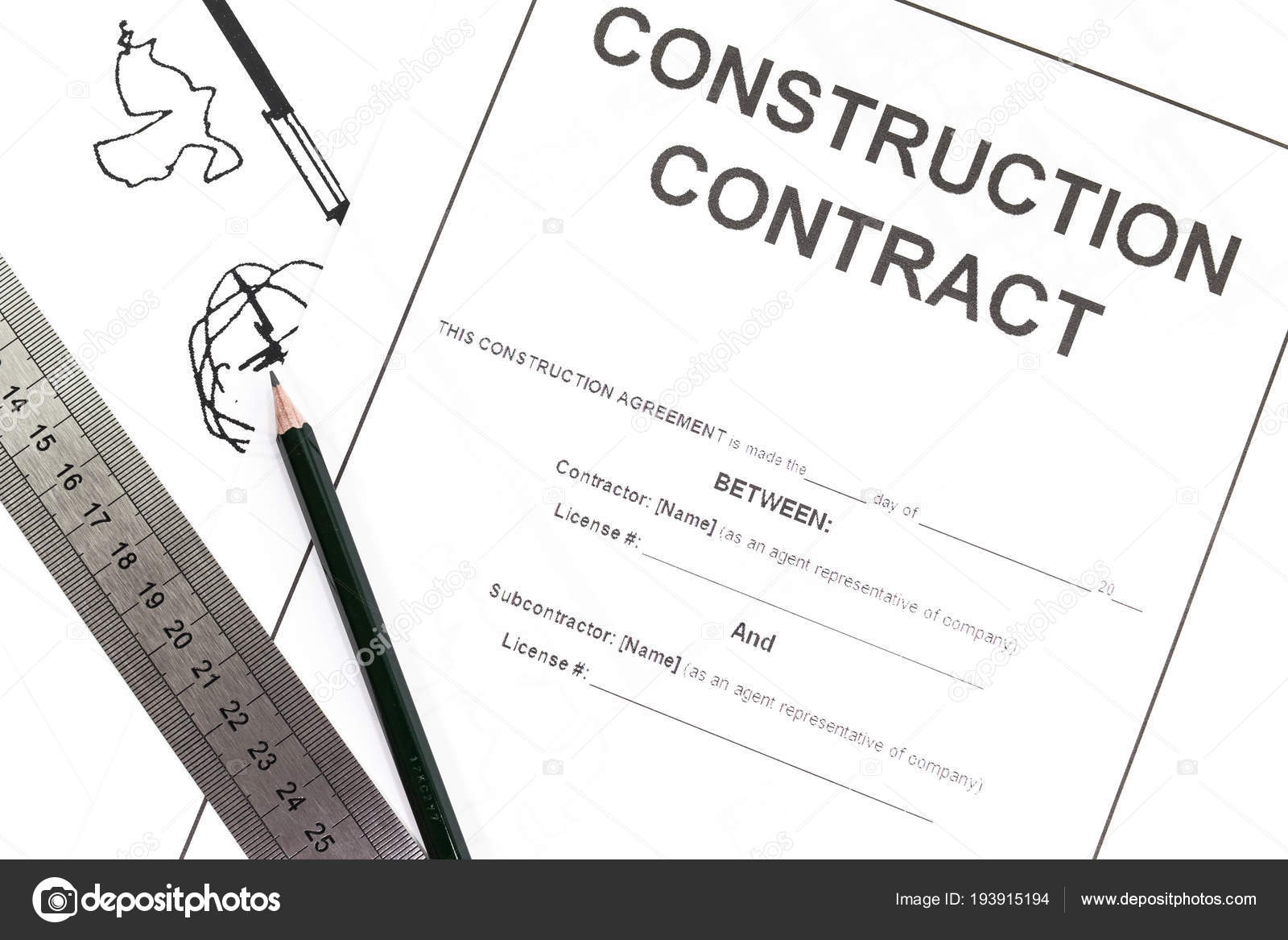 close blank construction contract paper stock photo torsakarin