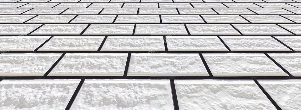 Panorama of white stone tile floor background