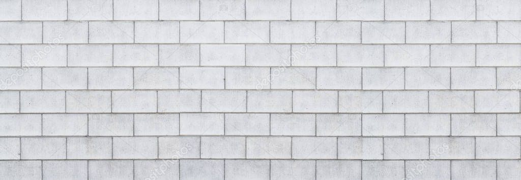 Panorama of cement block wall background and pattern