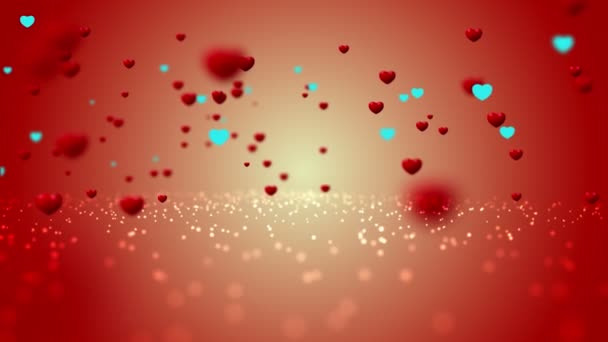 Sweet Red Hearth flying, love Valentines day animation background