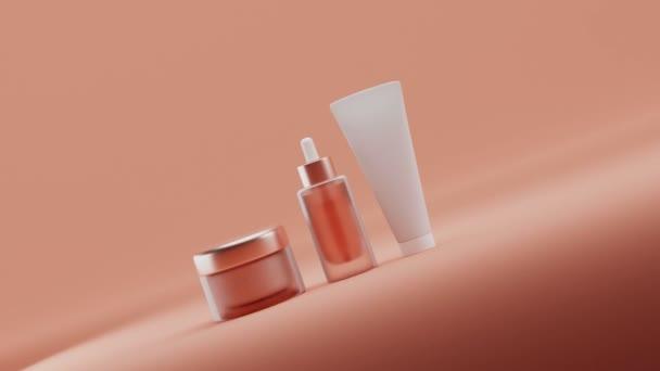 Set Blank kozmetikai csomagolás mock up, pasztell narancs háttér, 3d renderelés