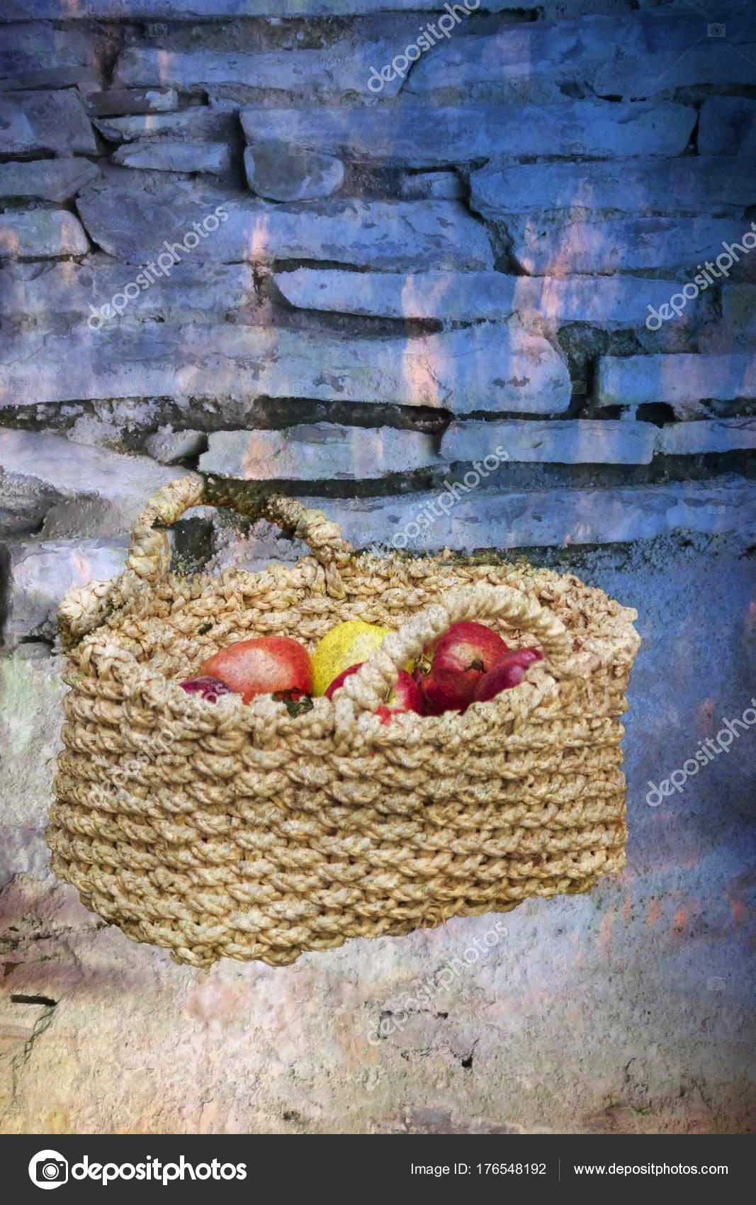 Fruit Vegetables Basket Stock Photo