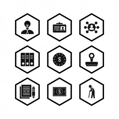 9 Set Of business icons isolated on white background...