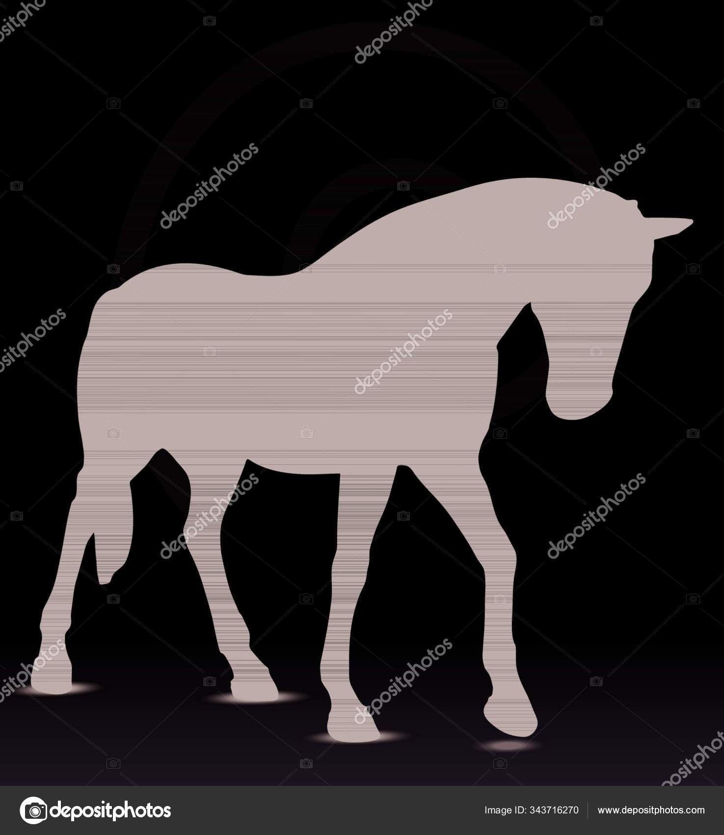 Eps Vector Horse Silhouette Walking Head Position Stock Vector C Yayimages 343716270