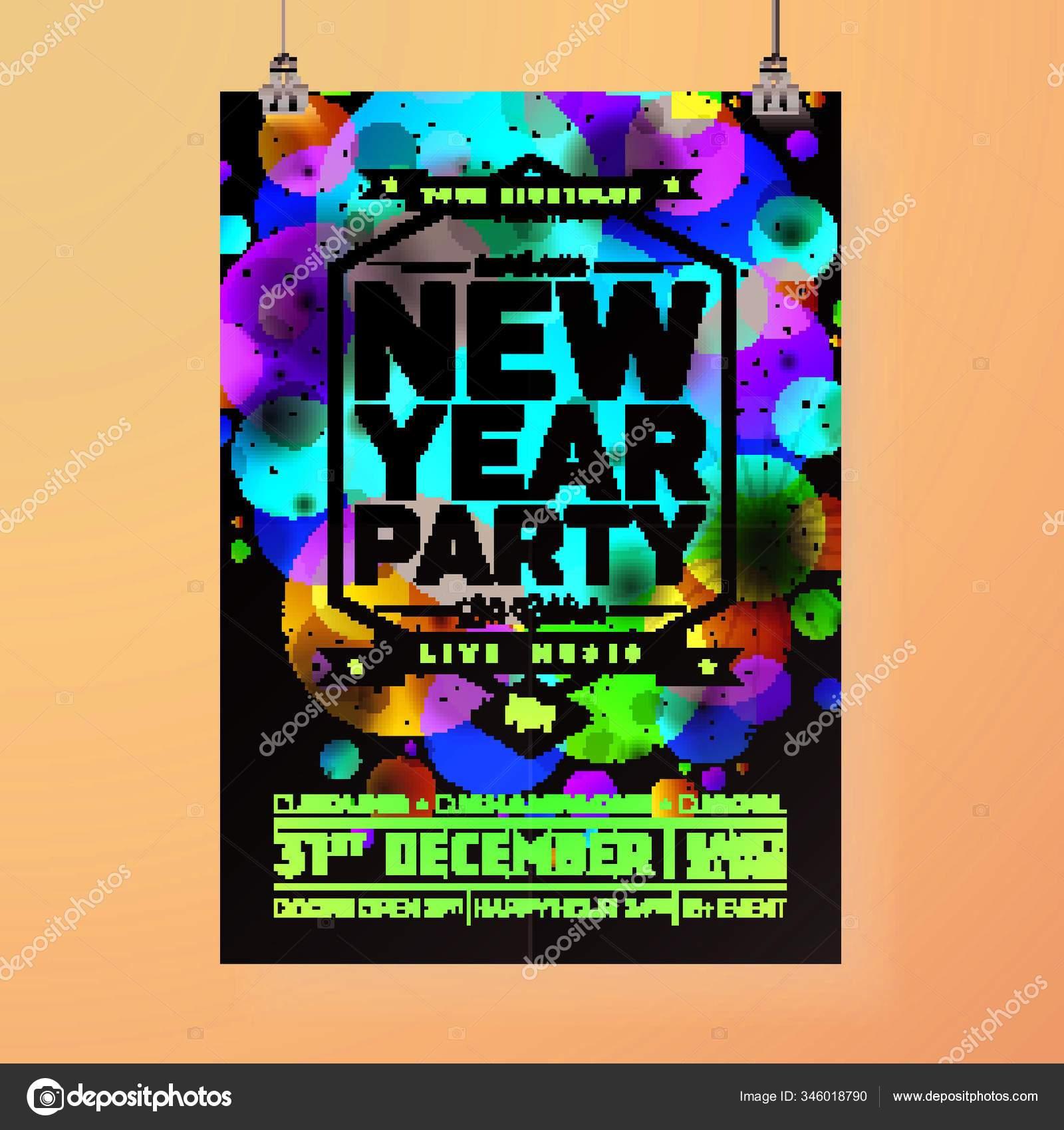 New Year Party Celebration Poster Illustration Typography Design Shiny Colorful Stok Vektor C Yayimages 346018790