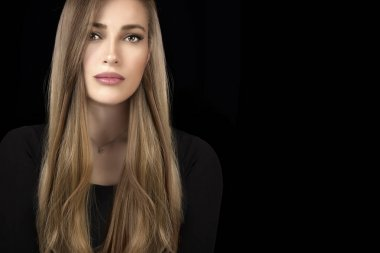 Beautiful model girl with healthy long hair. Hair coloring techn