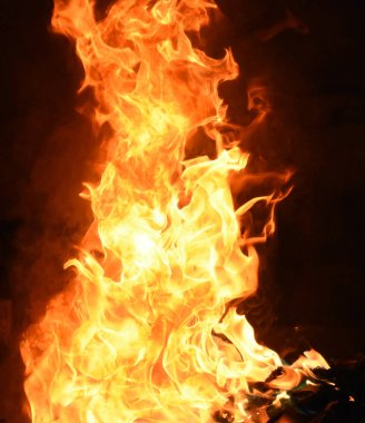 """Картина, постер, плакат, фотообои """"fire with yellow and orange flames on black background"""", артикул 330451622"""
