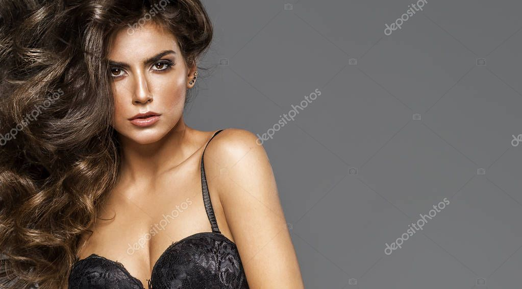 Portrait of young model wear bra