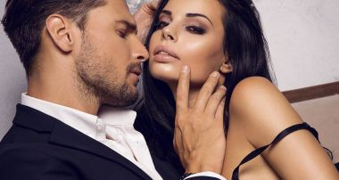 Sexy couple  touching at each other