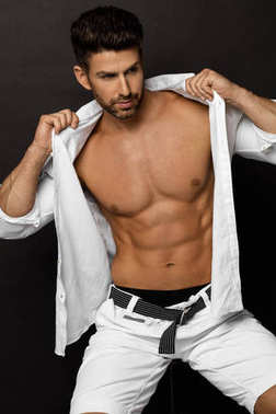 male model put on a shirt