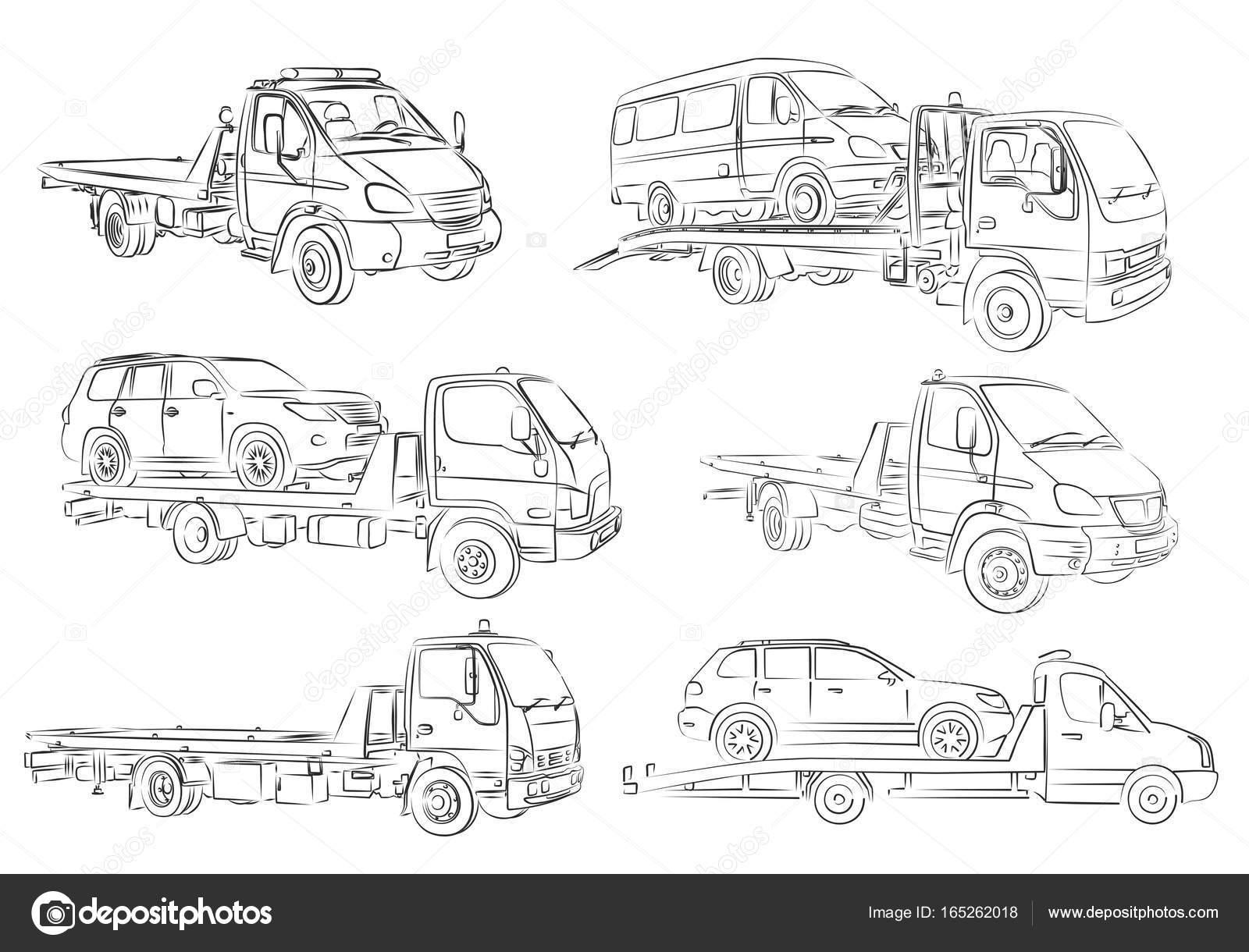 Dibujos de camiones de remolque — Vector de stock © Designer_an ...