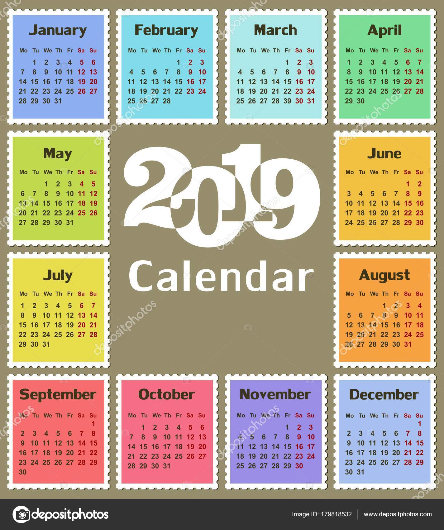 üres naptár sablon 2019 Naptár Sablon Egy Évben 2019 — Stock Vektor © Designer_an #179818532 üres naptár sablon 2019